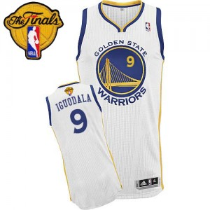 Golden State Warriors Andre Iguodala #9 Home 2015 The Finals Patch Authentic Maillot d'équipe de NBA - Blanc pour Homme