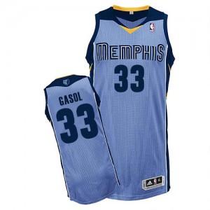 Maillot NBA Bleu clair Marc Gasol #33 Memphis Grizzlies Alternate Authentic Homme Adidas