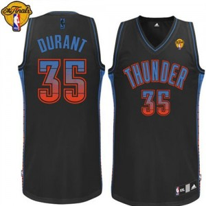 Maillot NBA Oklahoma City Thunder #35 Kevin Durant Noir Adidas Authentic Vibe Finals Patch - Homme