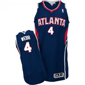 Atlanta Hawks Spud Webb #4 Road Authentic Maillot d'équipe de NBA - Bleu marin pour Homme