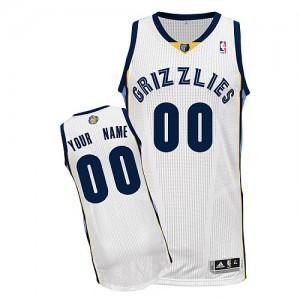Memphis Grizzlies Authentic Personnalisé Home Maillot d'équipe de NBA - Blanc pour Enfants
