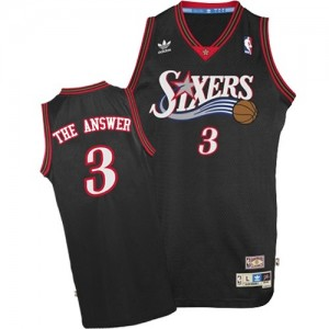 "Maillot NBA Philadelphia 76ers #3 Allen Iverson Noir Mitchell and Ness Authentic ""The Answer"" Throwback - Homme"