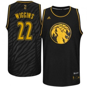 Maillot Authentic Minnesota Timberwolves NBA Precious Metals Fashion Noir - #22 Andrew Wiggins - Homme