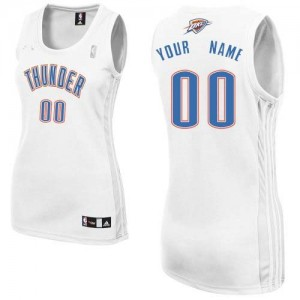 Maillot Adidas Blanc Home Oklahoma City Thunder - Authentic Personnalisé - Femme