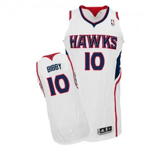 Atlanta Hawks Mike Bibby #10 Home Authentic Maillot d'équipe de NBA - Blanc pour Homme