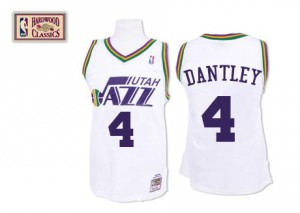 Utah Jazz #4 Mitchell and Ness Throwback Blanc Authentic Maillot d'équipe de NBA sortie magasin - Adrian Dantley pour Homme