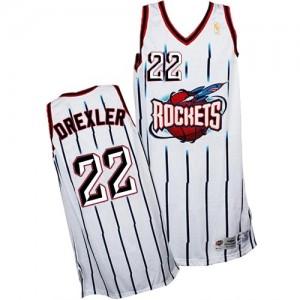 Maillot NBA Houston Rockets #22 Clyde Drexler Blanc Adidas Swingman Throwback - Homme