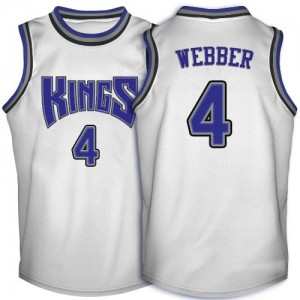 Sacramento Kings #4 Adidas Throwback Blanc Swingman Maillot d'équipe de NBA vente en ligne - Chris Webber pour Homme