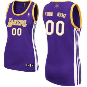 Los Angeles Lakers Authentic Personnalisé Road Maillot d'équipe de NBA - Violet pour Femme