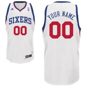 Maillot NBA Blanc Swingman Personnalisé Philadelphia 76ers Home Homme Adidas