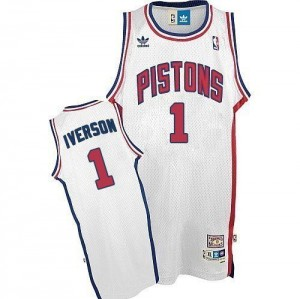 Detroit Pistons Allen Iverson #1 Throwback Authentic Maillot d'équipe de NBA - Blanc pour Homme