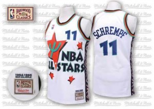 Oklahoma City Thunder #11 Adidas Throwback 1995 All Star Blanc Authentic Maillot d'équipe de NBA 100% authentique - Detlef Schrempf pour Homme