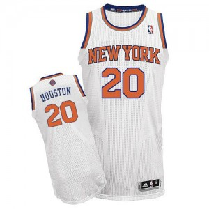 Maillot NBA New York Knicks #20 Allan Houston Blanc Adidas Authentic Home - Homme