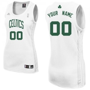 Maillot Adidas Blanc Home Boston Celtics - Swingman Personnalisé - Femme