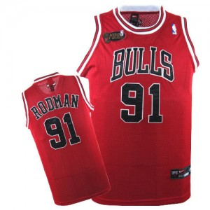 Maillot Authentic Chicago Bulls NBA Champions Patch Rouge - #91 Dennis Rodman - Homme