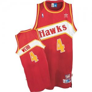 Atlanta Hawks #4 Adidas Throwback Rouge Authentic Maillot d'équipe de NBA Soldes discount - Spud Webb pour Homme