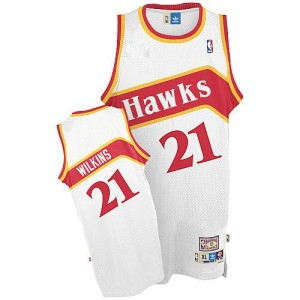 Maillot Adidas Blanc Throwback Authentic Atlanta Hawks - Dominique Wilkins #21 - Homme