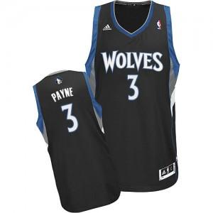 Maillot NBA Noir Adreian Payne #3 Minnesota Timberwolves Alternate Swingman Homme Adidas
