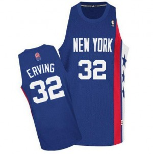 Maillot NBA Bleu Julius Erving #32 Brooklyn Nets ABA Retro Throwback Authentic Homme Adidas