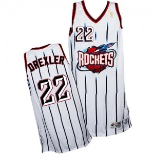 Houston Rockets Clyde Drexler #22 Throwback Authentic Maillot d'équipe de NBA - Blanc pour Homme