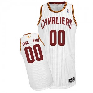 Maillot NBA Blanc Authentic Personnalisé Cleveland Cavaliers Home Homme Adidas