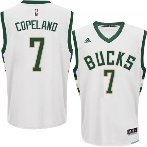 Maillot NBA Milwaukee Bucks #7 Chris Copeland Blanc Adidas Authentic Home - Homme