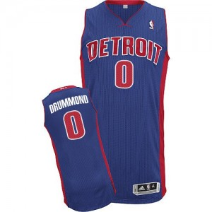 Maillot Adidas Bleu royal Road Authentic Detroit Pistons - Andre Drummond #0 - Homme