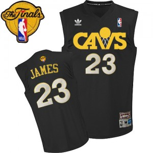 Maillot Adidas Noir CAVS Throwback 2015 The Finals Patch Authentic Cleveland Cavaliers - LeBron James #23 - Homme