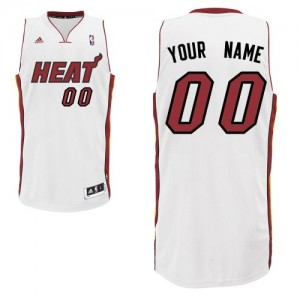 Maillot NBA Blanc Swingman Personnalisé Miami Heat Home Homme Adidas