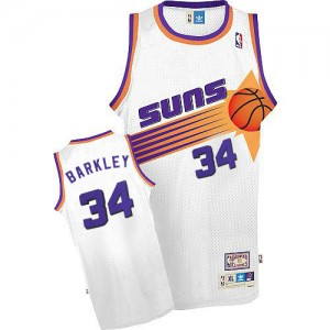 Maillot NBA Blanc Charles Barkley #34 Phoenix Suns Throwback Swingman Homme Mitchell and Ness