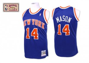 New York Knicks #14 Mitchell and Ness Throwback Bleu royal Authentic Maillot d'équipe de NBA préférentiel - Anthony Mason pour Homme