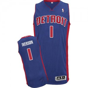 Detroit Pistons Allen Iverson #1 Road Authentic Maillot d'équipe de NBA - Bleu royal pour Homme