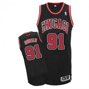 Maillot NBA Authentic Dennis Rodman #91 Chicago Bulls Alternate Noir - Homme