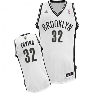 Maillot NBA Blanc Julius Erving #32 Brooklyn Nets Home Swingman Homme Adidas