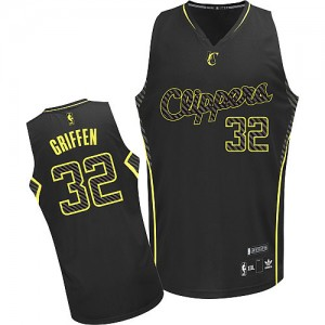Maillot Adidas Noir Electricity Fashion Authentic Los Angeles Clippers - Blake Griffin #32 - Homme