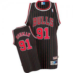 Maillot NBA Noir Rouge Dennis Rodman #91 Chicago Bulls Throwback Authentic Homme Adidas