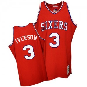 Maillot NBA Rouge Allen Iverson #3 Philadelphia 76ers Throwback Authentic Homme Mitchell and Ness