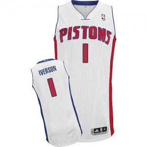 Maillot Authentic Detroit Pistons NBA Home Blanc - #1 Allen Iverson - Homme