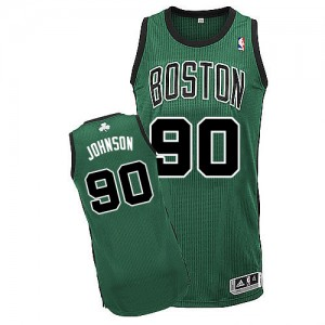 Maillot NBA Boston Celtics #90 Amir Johnson Vert (No. noir) Adidas Authentic Alternate - Homme