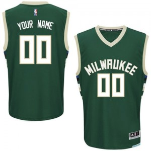 Milwaukee Bucks Authentic Personnalisé Road Maillot d'équipe de NBA - Vert pour Enfants