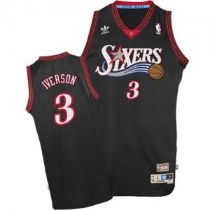 Philadelphia 76ers Allen Iverson #3 1997-2009 Throwback Authentic Maillot d'équipe de NBA - Noir pour Homme