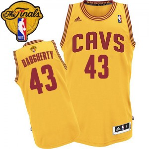 Maillot NBA Cleveland Cavaliers #43 Brad Daugherty Or Adidas Authentic Alternate 2015 The Finals Patch - Homme