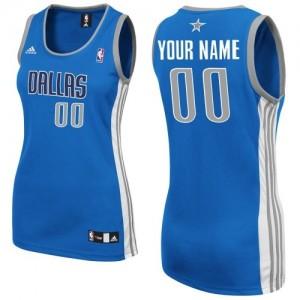 Maillot NBA Bleu royal Swingman Personnalisé Dallas Mavericks Road Femme Adidas