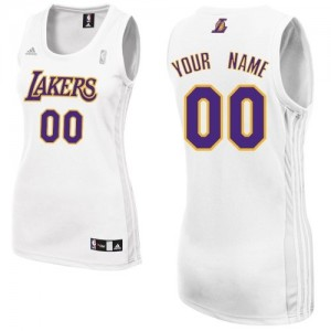 Maillot NBA Blanc Swingman Personnalisé Los Angeles Lakers Alternate Femme Adidas