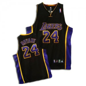 Maillot NBA Los Angeles Lakers #24 Kobe Bryant Noir / Violet Adidas Swingman - Enfants