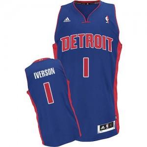 Detroit Pistons Allen Iverson #1 Road Swingman Maillot d'équipe de NBA - Bleu royal pour Homme