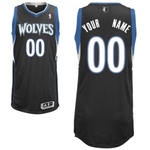 Maillot NBA Authentic Personnalisé Minnesota Timberwolves Alternate Noir - Enfants