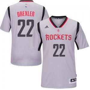 Maillot NBA Authentic Clyde Drexler #22 Houston Rockets Alternate Gris - Homme