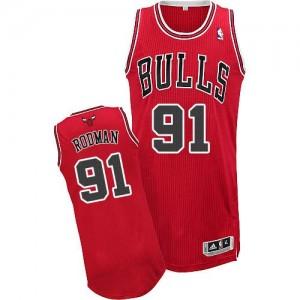 Chicago Bulls #91 Adidas Road Rouge Authentic Maillot d'équipe de NBA Braderie - Dennis Rodman pour Homme