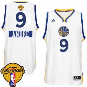 Maillot NBA Golden State Warriors #9 Andre Iguodala Blanc Adidas Authentic 2014-15 Christmas Day 2015 The Finals Patch - Homme